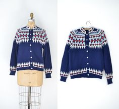 Vintage Navy Blue Fair Isle Sweater / Nordic by FemaleHysteria