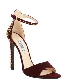 Prada : bordeaux suede gold studded anklestrap open toe pumps