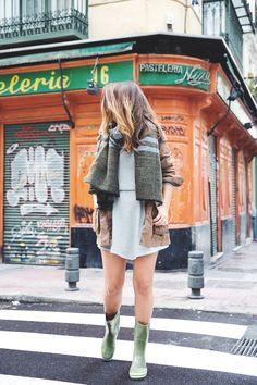 Perfection. Jersey dress, parka jacket, and rainboots.