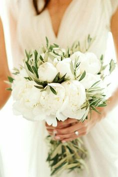 Olive branches and peonies bouquet www.weddingsintuscany.biz #theweddingofmydreams @theweddingomd