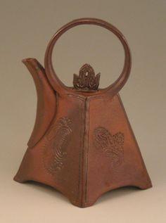 Wood Fired, Ceramic Teapot, Deep Earthtones, Functional Art