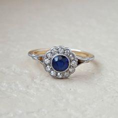 Vintage Antique Art Deco Sapphire and by CypressCreekVintage