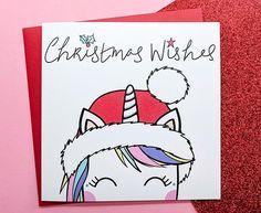Cute Unicorn Christmas Card Hand Drawn  Handmade Unicorn