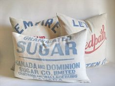 Vintage Bag of Sugar | Pillow Covers Vintage Sugar Bags from theCottageWorkroom on Etsy