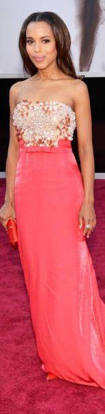 Kerry Washington in a coral Miu Miu dress