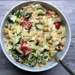 Summer Orzo Pasta Salad-- made this for my family and they loved it.  I accidentally put all the dressing in the salad at first with all ingredients so then drained off maybe 1/2C of it.  I didn't end up adding it back at the end it was flavorful enough.  A possibility for what to add next time would be black olives, my husband mentioned pepperoni or you could easily add some cooked chicken and make this a meal in itself.  It makes a large amount!