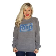 """Her Universe """"MAY THE FORCE PULLOVER"""" ($45.00) ~ """"Looking for the most comfortable sweatshirt ever? Well, here it is! This is the PERFECT lounge sweatshirt. Trust us, you will not want to take it off!"""""""