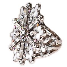 Ritzy Couture Winter Wonderland Snowflake Cocktail Ring (...…