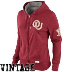 Nike Oklahoma Sooners Ladies Vault Old School Full Zip Sweatshirt - Crimson  Ohio State Gear c9ce3c6ff128
