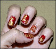 It's Lunar New Year eve today. I am 'a quarter' Chinese and I celebrate Chinese New Year every year. Magic Nails, Chinese New Year, Nail Arts, Cute Nails, Class Ring, Cool Style, Hair Beauty, Red Nails, Awesome