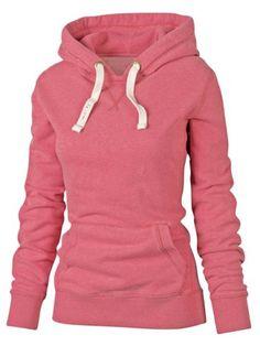 Simple Hooded Long Sleeve Pocket Design Women's HoodieSweatshirts & Hoodies | RoseGal.com