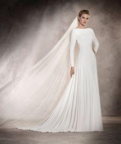 Anabel - Abito da sposa con scollatura rotonda, ricami e particolare in strass