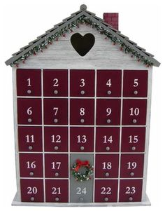 Counting down the days until Christmas? This cute advent calendar is a help. Days Until Christmas, Christmas Is Coming, Christmas Holidays, Christmas Decorations, Christmas Stuff, Christmas Ideas, Merry Christmas, Wooden House Advent Calendar, Advent House