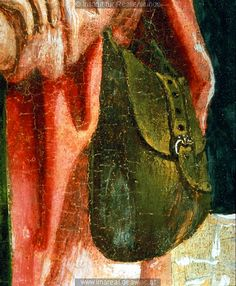 German Pilgrim Scrip 15th cent. Closeup of a period painting/illumination showing a pilgrim scrip (bookbag).