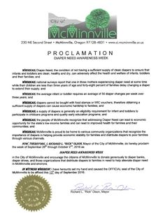 McMinnville, OR - Mayoral proclamation recognizing Diaper Need Awareness Week (Sep. 26-Oct. 2, 2016) #Diaperneed diaperneed.org