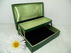 Vintage Shabby Chic Green Cardboard Jewelry Box  by DivineOrders