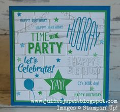 Julie Kettlewell - Stampin Up UK Independent Demonstrator - Order products 24/7: Confetti Celebration Graffiti Card