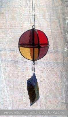 Sculpture. Pendant. Stained Glass. Handmade. Home decor. DizArtEx.  Type: Stained #Glass (Pendant); Motive: Sunatcher; Size: 7,0 cm (diameter);  DizArtEx - Dizain(Desi... #stainedglass #handmade #decor #artglass #dizartex #glass #sculpture #geometric #red #yellow #bordo #suncatcher #pendant #tiffany
