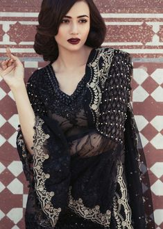 Maria b Black Net Suit Replica - Master Replica Wholesale Latest Pakistani Dresses, Pakistani Designer Suits, Pakistani Fashion Casual, Pakistani Street Style, Pakistani Dress Design, Pakistani Outfits, Bollywood Fashion, Indian Fashion, Color Combinations For Clothes
