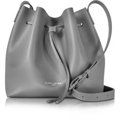 Lancaster Paris Handbags Pur Smooth Leather Bucket Bag ($235) ❤ liked on Polyvore featuring bags, handbags, shoulder bags, grey, draw string pouch, drawstring shoulder bag, grey purse, bucket bags and grey shoulder bag