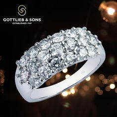 If it's a night on the town or a special candlelit evening for two, this 14K White Gold Diamond ring is a perfect fit.  This timeless classic #diamond ring features three rows of glittering shared prong set round diamonds. Visit your local #GottliebandSons retailer and ask for style number 28917B. #anniversary #sparkle http://www.gottlieb-sons.com/product/detail/28917B