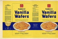 A childhood favorite of mine, this Vanilla Wafers box is likely from my mother's childhood. Barbie Food, Doll Food, Miniature Food, Miniature Dolls, Miniature Kitchen, Minis, Wafer Paper, Vintage Packaging, Packaging Design