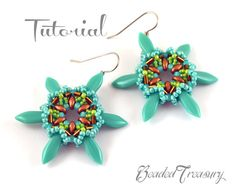 "Beading tutorial, earring bead pattern, superduo bead pattern, dagger, bugle, seed beads. ""Star Flower"" / TUTORIAL ONLY"