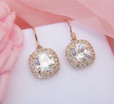 Gorgeous Bridal Rose Gold Earrings Wedding Rose by CherryHills, $46.00