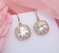Gorgeous Bridal Rose Gold Earrings Wedding Rose by CherryHills, $46.00