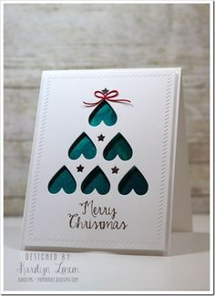 handmade Christmas card … clean and simple … negative space die cut tree of upside down hearts and stars backed in teal … elegant look … like the finishing touches of embossed borders and popped up panel … 0 Shares Homemade Christmas Cards, Christmas Cards To Make, Noel Christmas, Homemade Cards, Holiday Cards, Christmas Lights, Karten Diy, Winter Cards, Diy Cards