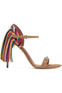 Valentino - Rockstud Rolling Fringed Suede Sandals - Tan - IT