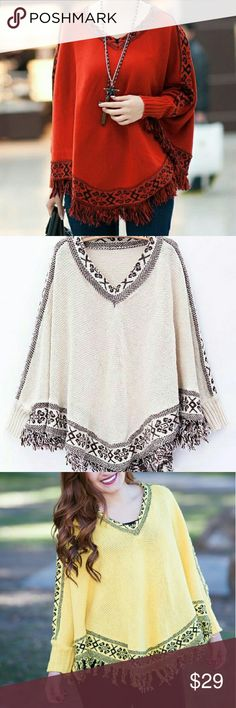 Spring Poncho Choose color before purchase.  Cozy up in style with this artfully designed high quality poncho, with wearable sleeves. Available in an array of colors.  Wool Polyester Wearable Sleeves Free style design that makes it easy to fit any size One size fits all Tops