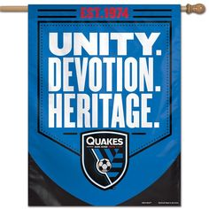 Show off your team pride with this San Jose Earthquakes vertical banner flag from WinCraft! This flag features San Jose Earthquakes graphics. Your dedicated San Jose Earthquakes spirit will be on full display with this vibrant flag. Soccer Flags, San Jose Earthquakes, Juventus Logo, Banner, Squad, Sleeve, Top, Color, Graphics
