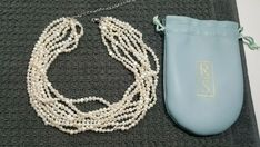 Ross Simons White Baroque Freshwater Pearl Necklace 8 Strand with Bag Rings N Things, Freshwater Pearl Necklaces, Baroque, Fresh Water, Pearls, Chain, Bags, Handbags, Rings And Things