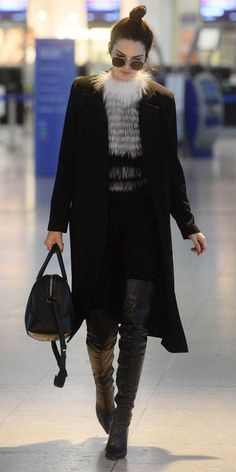 Kendall Jenner is all about cozy flying.