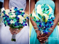 Bouquet with blue orchids, white flowers and contrast of green. #Bouquet #White #Blue #Purple