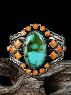 Native American Royston Turquoise and Spiny Oyster Bracelet