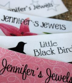 60 Custom Printed Fabric Labels Sew on or Iron on GREAT DEAL. $20.00, via Etsy.