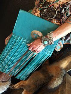 OOAK turquoise vintage thunderbird leather by WhiskeyLeeDesigns