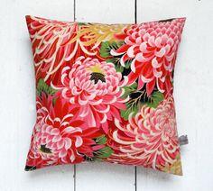 Pink  Red Vintage Kimono Fabric Floral Cushion Pillow 'Pink Chrysanthemums'