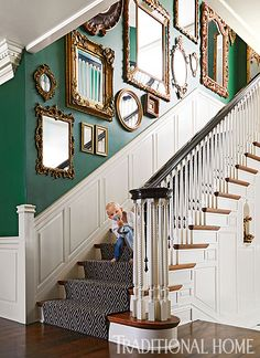 Decorating with antique mirrors This gallery wall arrangement of mismatched mirrors makes a pretty statement along a stairwell wall. We especially love the way the gilded gold pops against the emerald wall. This look is exciting but still works well with Stairwell Wall, Gallery Wall Staircase, Staircase Wall Decor, Staircase Walls, Mirror Gallery Wall, Gallery Walls, Wall Of Mirrors, Mirrors On Stairs, Gold Mirrors