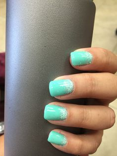 Gel nails. Teal nails teal glitter ombré gel nails by Kasie