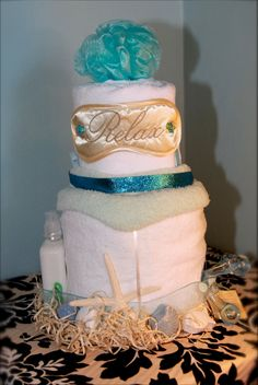 Unique Towel Cakes | Spa Towel Cake by FancyPantsPartyCakes on Etsy