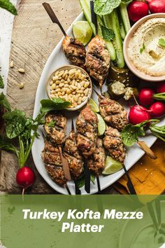 Bring Mediterranean flavours into your home tonight with Tanya Bates' Turkey Kofta Mezze Platter. A fun meal the whole family will enjoy! Platter, Cobb Salad, Good Food, Keto, Meals, Ethnic Recipes, Dinner Ideas, Fun, Lol