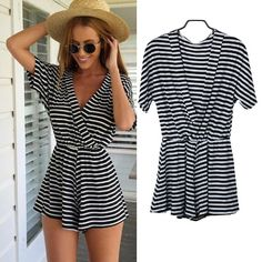 Cheap Jumpsuits & Rompers, Buy Directly from China Suppliers:	New Summer Women Striped Short Sleeve Jumpsuit Playsuit Romper Shorts	 NOTE: Please compare the detail sizes with
