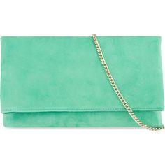 KAREN MILLEN Brompton suede clutch ($150) ❤ liked on Polyvore featuring bags, handbags, clutches, green, studded purse, karen millen handbags, suede leather handbags, green handbags and green suede handbag