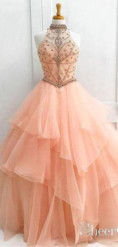 Long Prom Dress Ball Gown Halter High Neck Beaded Bodice Organza Quinceanera Dresses - Sites new Pretty Dresses For Teens, Prom Dresses Long Pink, Gala Dresses, Quinceanera Dresses, Homecoming Dresses, Wedding Dresses, Summer Dresses, Blush Prom Dress, Blush Gown
