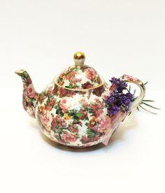 Vintage Chintz Tea Pot Unmarked Baum by GracesVintageGarden