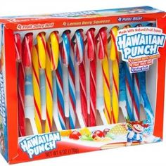 In case you prefer a sunny Hawaiian beach over a snowy mountainside at Christmastime, Hawaiian Punch has just the thing. The beverage company makes candy canes in three of its drink flavors — Fruity Juicy Red, Lemon Berry Squeeze, and Polar Blast. Get them at candywarehouse.com - Delish.com