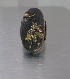 Japanese Shakudo Ring, Large Antique Ring, Mixed Metals Fuchi Kashira, Japanese Edo Period, 1800s Shakudo Jewelry, Samurai Warrior